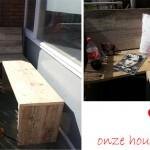 ♥ onze houten balkonbank
